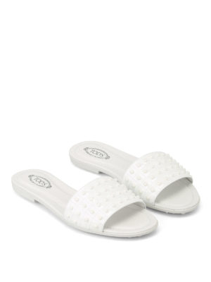 Tod'S: Loafers & Slippers online - Patent leather pebbled slippers