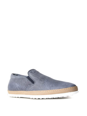 Tod'S: Loafers & Slippers online - Patterned leather and jute slip-ons