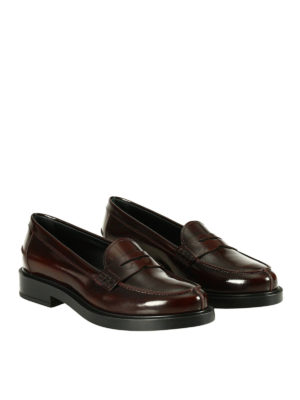 Tod'S: Loafers & Slippers online - Penny bar burgundy leather loafers