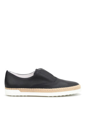 Tod'S: Loafers & Slippers online - Raffia detailed leather slip-ons