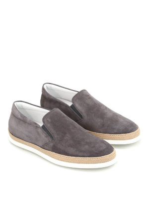 Tod'S: Loafers & Slippers online - Raffia detailed suede slip-ons