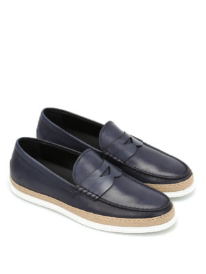 Tod'S: Loafers & Slippers online - Rafia TV leather loafers