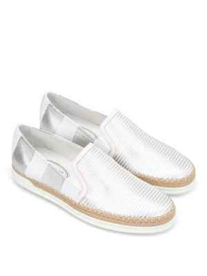 Tod'S: Loafers & Slippers online - Shimmering striped leather slip-ons