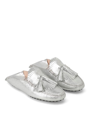 Tod'S: Loafers & Slippers online - Silver leather tasselled slippers