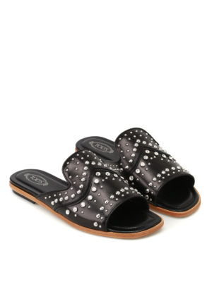 Tod'S: Loafers & Slippers online - Studded leather slippers