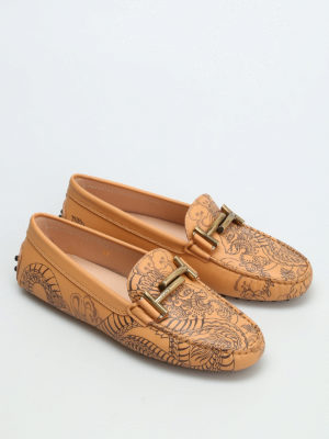 Tod'S: Loafers & Slippers online - Tattoo print leather loafers