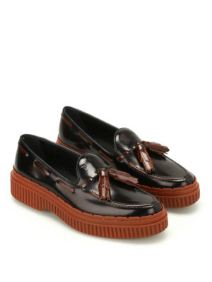 Tod'S: Loafers & Slippers online - Two-tone leather tassel loafers