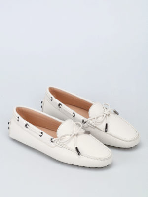 Tod'S: Loafers & Slippers online - White grained leather loafers