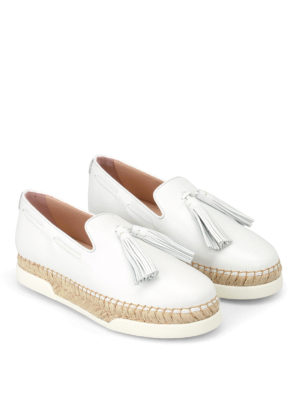 Tod'S: Loafers & Slippers online - White leather tassel slip-ons
