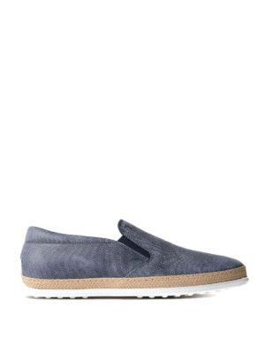 Tod'S: Loafers & Slippers - Patterned leather and jute slip-ons