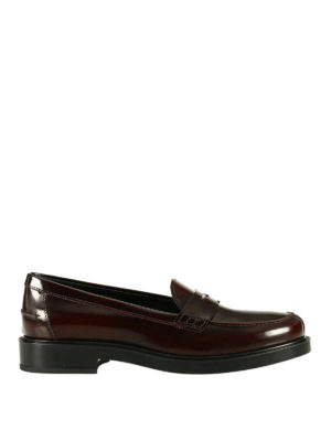 Tod'S: Loafers & Slippers - Penny bar burgundy leather loafers