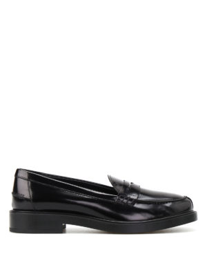 Tod'S: Loafers & Slippers - Penny bar detailed leather loafers