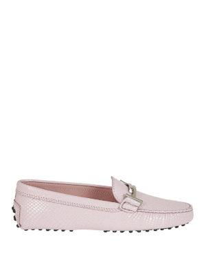 TOD'S: Mocassini e slippers - Mocassini pelle stampa rettile rosa
