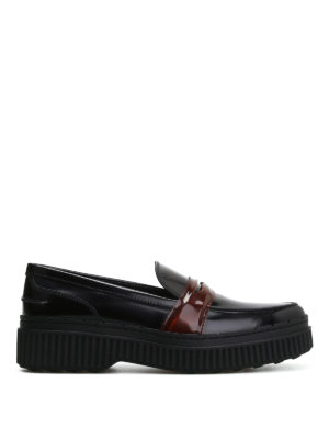 Tod'S: Loafers & Slippers - Pointy loafers with brown penny bar
