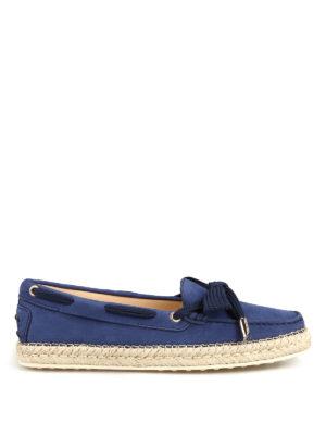 TOD'S: Mocassini e slippers - Mocassini in nabuk blu con rafia e gommini