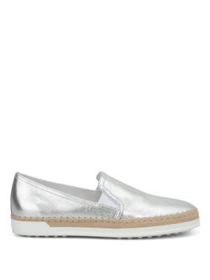 Tod'S: Loafers & Slippers - Raffia detail leather slip-ons