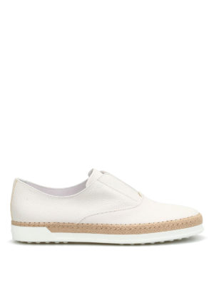 Tod'S: Loafers & Slippers - Raffia detailed leather slip-ons