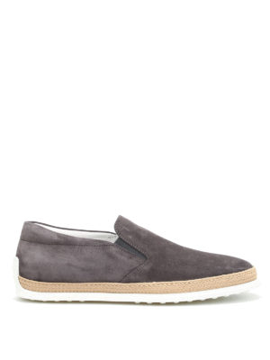 Tod'S: Loafers & Slippers - Raffia detailed suede slip-ons