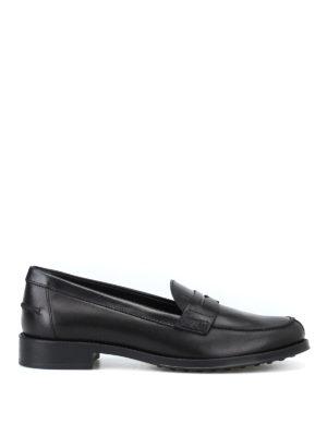 TOD'S: Mocassini e slippers - Mocassini in pelle nera con fondo in gomma