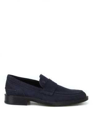 TOD'S: Mocassini e slippers - Mocassini in suede blu con suola con gommini