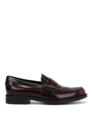 Tod'S: Loafers & Slippers - Semi-glossy brushed leather loafers