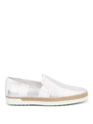 Tod'S: Loafers & Slippers - Shimmering striped leather slip-ons