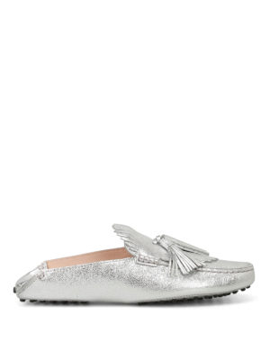 Tod'S: Loafers & Slippers - Silver leather tasselled slippers