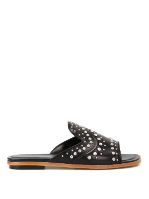 Tod'S: Loafers & Slippers - Studded leather slippers