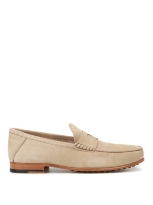 Tod'S: Loafers & Slippers - Suede loafers with penny bar