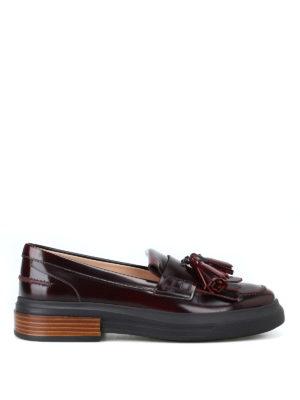TOD'S: Mocassini e slippers - Mocassini bordeaux spazzolati con nappe