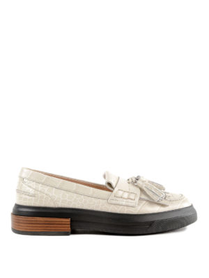TOD'S: Mocassini e slippers - Mocassini in pelle con nappine e maxi suola