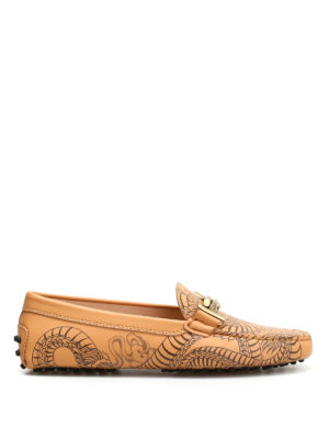 Tod'S: Loafers & Slippers - Tattoo print leather loafers