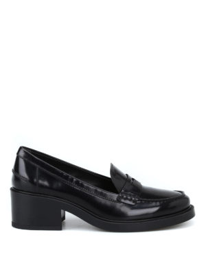 TOD'S: Mocassini e slippers - Mocassini pelle spazzolata con tacco spesso