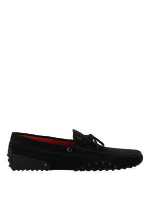 TOD'S: Mocassini e slippers - Mocassini in suede nero Tod's for Ferrari