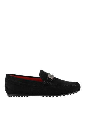 TOD'S: Mocassini e slippers - Mocassini Tod's for Ferrari in suede con logo