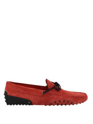 TOD'S: Mocassini e slippers - Mocassini in suede rosso Tod's for Ferrari