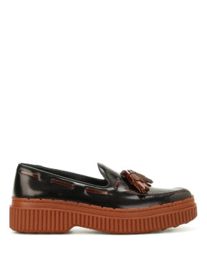 Tod'S: Loafers & Slippers - Two-tone leather tassel loafers