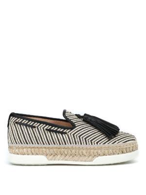 TOD'S: Mocassini e slippers - Mocassini in rafia con nappine