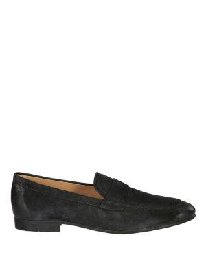 TOD'S: Mocassini e slippers - Mocassini in camoscio nero con effetto used