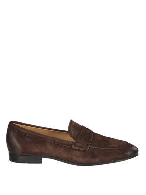 TOD'S: Mocassini e slippers - Mocassini in camoscio marrone effetto used