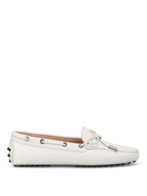 Tod'S: Loafers & Slippers - White grained leather loafers
