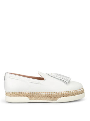 Tod'S: Loafers & Slippers - White leather tassel slip-ons