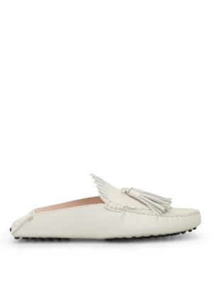 Tod'S: Loafers & Slippers - White leather tasselled slippers