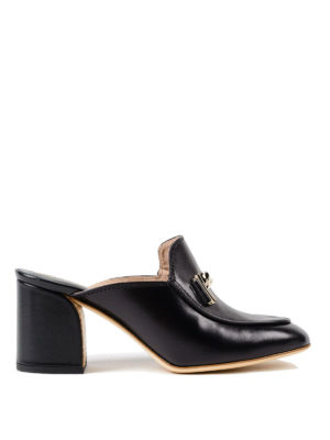 Tod'S: mules shoes - Double T black leather mules