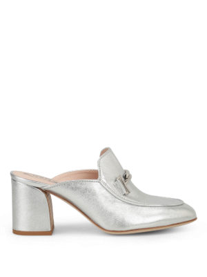 Tod'S: mules shoes - Double T heeled silver mules