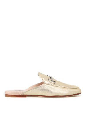 Tod'S: mules shoes - Double T metallic leather mules