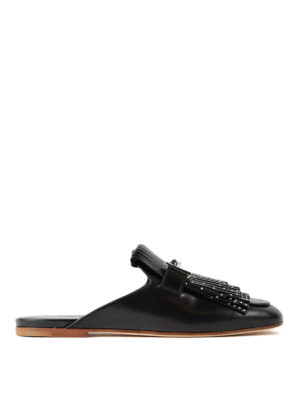 Tod'S: mules shoes - Double T studded black mules
