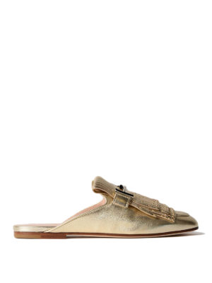 Tod'S: mules shoes - Double T studded fringed mules