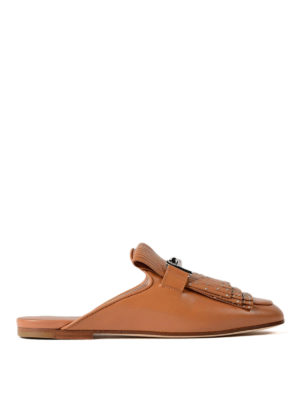 Tod'S: mules shoes - Double T studded leather mules