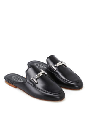 Tod'S: mules shoes online - 79A double T leather mules